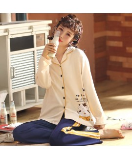 Leisure combed cotton long sleeve cardigan Pajama ...