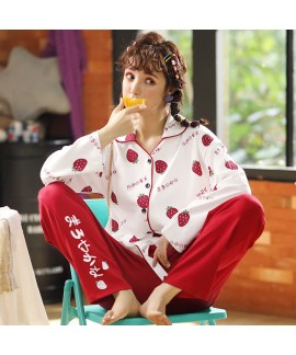 Combed cotton women's sleepwear set comfortable ho...