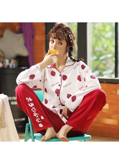 Combed cotton women's sleepwear set comfortable home pajamas in autumn and winter