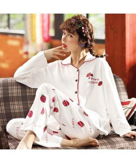 Cotton printed pajamas women's cardigan long sleev...