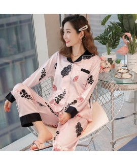Long sleeve pajamas women ice silk lovely sweet la...