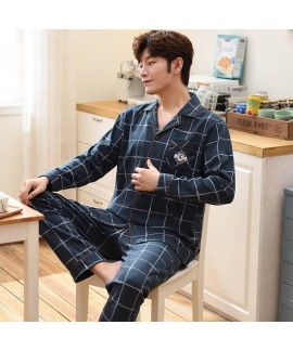 casual loose large size Mens pajamas cotton autumn middle-aged dad sleepwear
