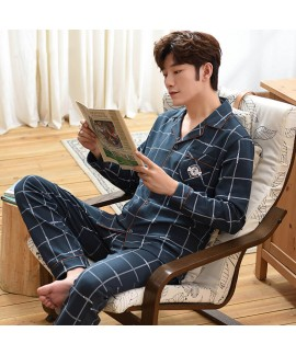 casual loose large size Mens pajamas cotton autumn...