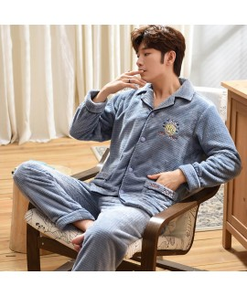 Flannel Mens pajamas long sleeve Lapel cardigan th...