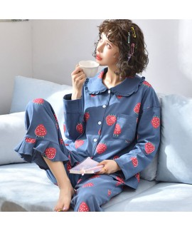 Knitted cotton women's Lapel Pajama set