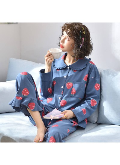 Knitted cotton women's Lapel Pajama set