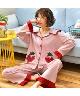 pure cotton new pajamas women's winter Lapel sweet...