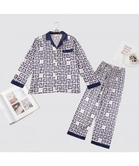Long sleeve printing pants ice silk sleepwear sets