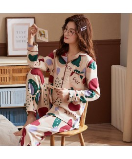 Autumn and winter pajamas women's knitting cotton ...