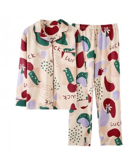 Autumn and winter pajamas women's knitting cotton sweet pure cotton home clothes