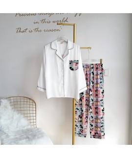 Satin cardigan two-piece pajama sets V-neck ice si...