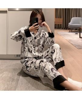 Long sleeve pajama set sweet and lovely student ic...