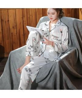 Letter ice silk Pajama set women's Lapel leisure s...