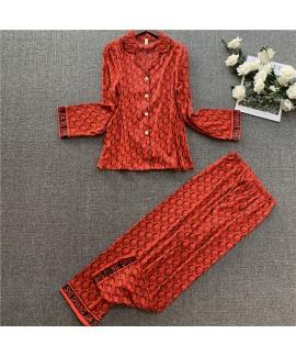 Women's imitation silk pajamas Lapel leisure silk ...