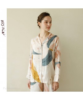 2020 romantic star Satin print lapel Pajama sets l...