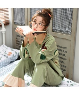 Round neck pajamas women's cotton long sleeve wome...