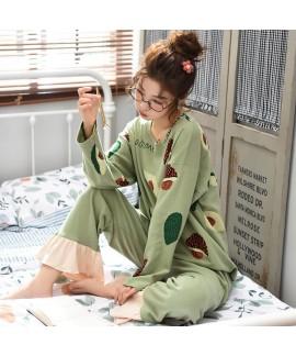 Round neck pajamas women's cotton long sleeve women's home sleepwear set