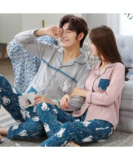Cotton couple Pajama suit long sleeve cardigan cou...