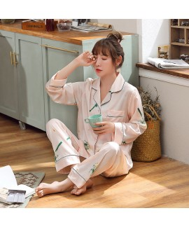 Spring and autumn thin two-piece Pajama women's ca...
