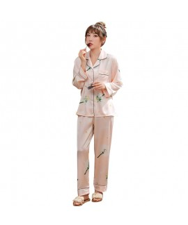 Spring and autumn thin two-piece Pajama women's casual and comfortable silk printing long sleeve home clothes set