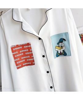 Long sleeve ice silk pajamas two piece set for spr...