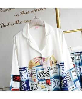 Comfortable Satin ice silk Two Piece Pajamas for s...