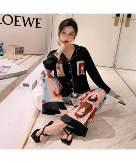 Comfortable long sleeve ice silk sleepwear women's...