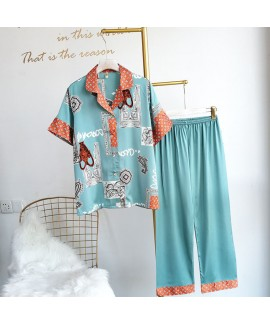 Loose skin friendly and cool women's ice silk paja...
