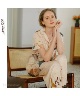 2020 Satin star sky short sleeve Pajama sets casua...