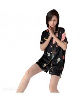 2020 Ice silk two piece pajama set comfortable new summer breathable sleepwear