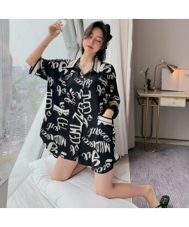Large leisure satin pajama sets silk like sleepwea...