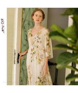 2020 summer women's nightdress V-neck printed nigh...
