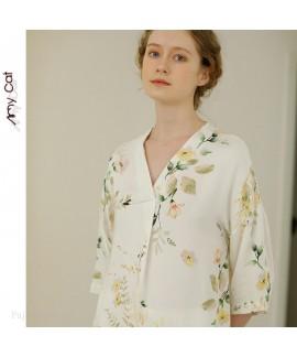 Summer short sleeved collarless Pullover Pajama se...