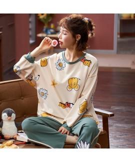 Autumn cotton long sleeve pajama set women's round...