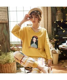 cotton pajamas women's Pullover long sleeve sleepw...