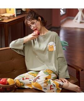 Autumn and winter new cotton pajamas women's round...