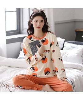 Cotton pajamas loose long sleeve student sleepwear...